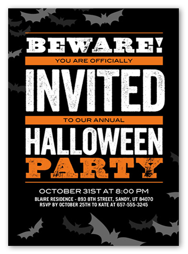 Beware Bats Halloween Invitation