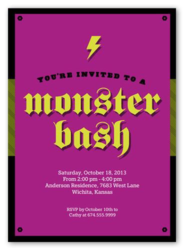 Monster Fun Halloween Invitation, Square Corners