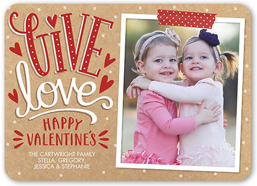 Give Hearts Valentine's Card, Rounded Corners
