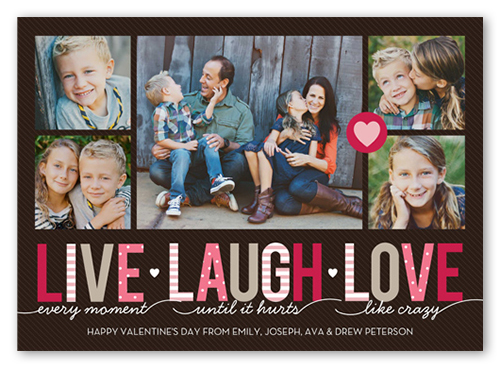 Live Laugh Love Valentine's Card, Square Corners