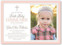 faithfully framed girl communion invitation 5x7 flat