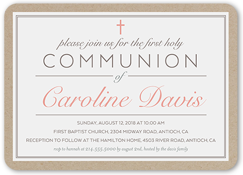 Holy Elegance Girl Communion Invitation, Rounded Corners