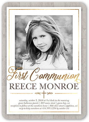 Wooden Christening Communion Invitation, Rounded Corners