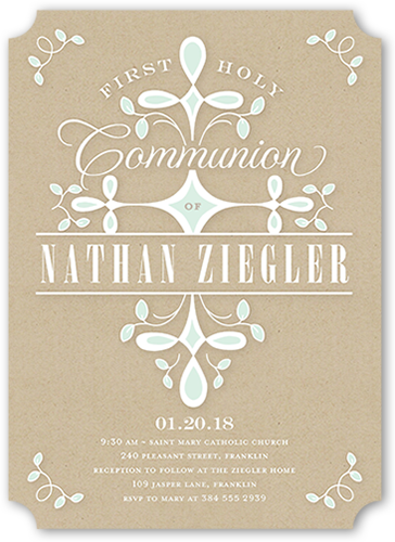 Swirled Ritual Boy Communion Invitation, Ticket Corners