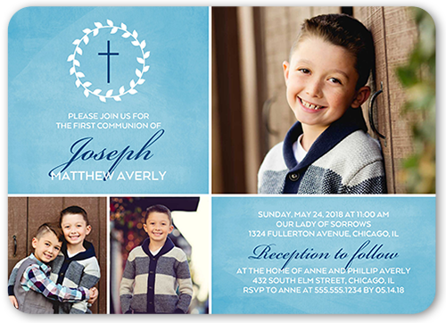 Simple Immersion Boy Communion Invitation, Rounded Corners