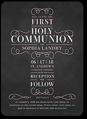 christening cross girl communion invitation 5x7 flat