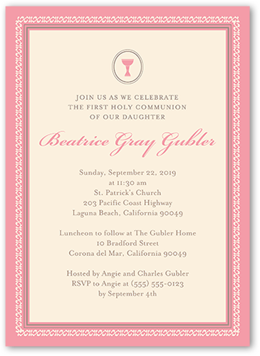 Framed Chalice Girl Communion Invitation
