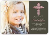 gaelic cross girl communion invitation 5x7 flat