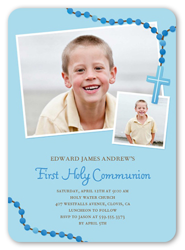 Prayer Beads Boy 5x7 Invitation First Communion Invitations