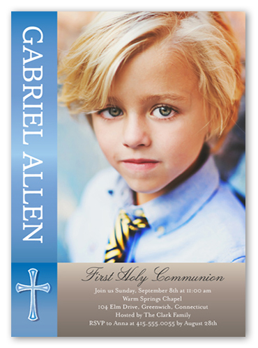 Communion Cheer Boy Communion Invitation, Square Corners