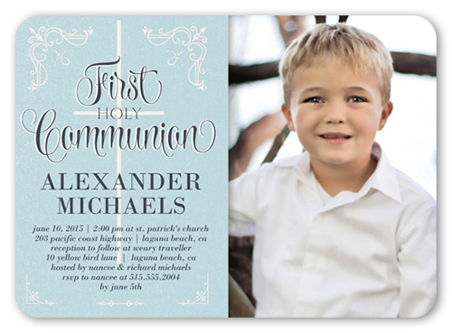 Decorative Borders Boy Communion Invitation, Square