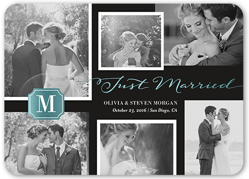 Brilliant Monogram Collage Wedding Announcement, Rounded Corners