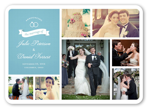 Wedding Rings Collage Wedding Announcement, Rounded Corners