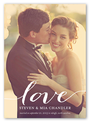 Love You Wedding Announcement, Square Corners