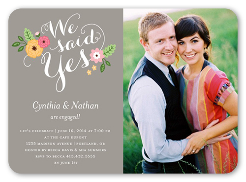We said yes 5x7 invitation card engagement invitations shutterfly front stopboris Choice Image
