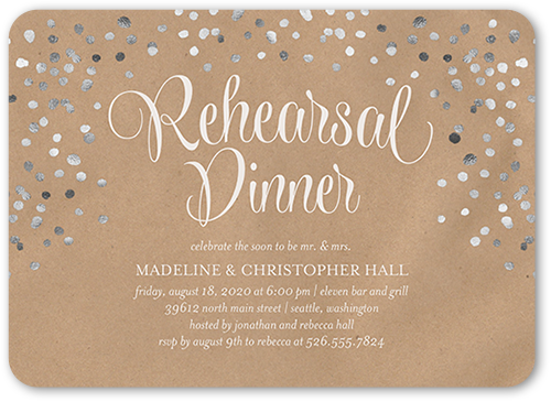 Speckled Flair Rehearsal Dinner Invitation, Rounded Corners