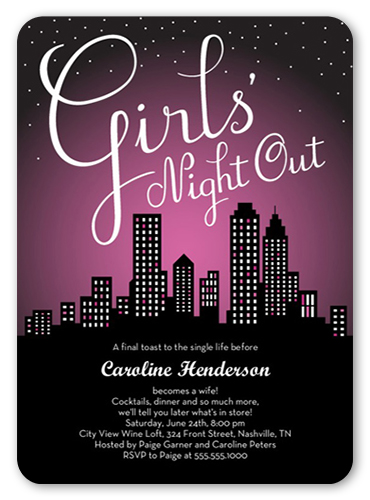 Party All Night Bachelorette Party Invitation, Rounded Corners
