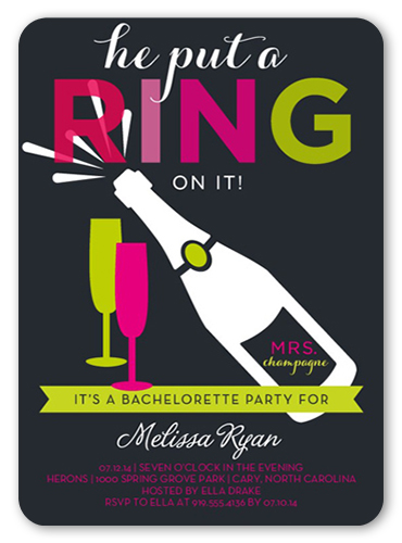 Celebrate The Ring Bachelorette Party Invitation