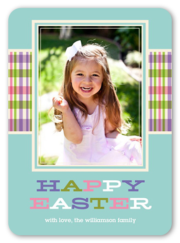 Colorful Plaid Ribbon Easter Card
