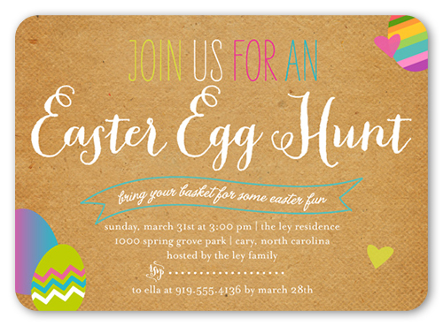 Hop On Over Easter Invitation, Rounded Corners