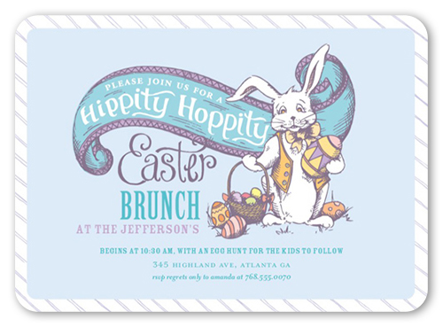 Hippity Hoppity Easter Invitation, Rounded Corners