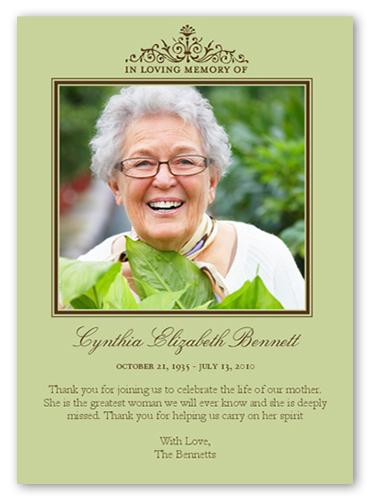 Elegant Memory Frame Sympathy Card