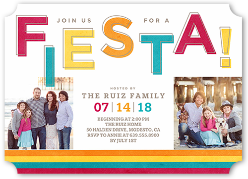 Fiesta Time Summer Invitation, Ticket Corners