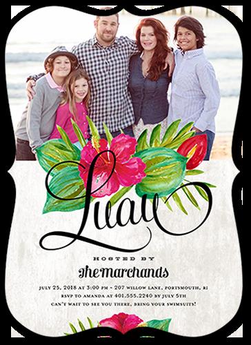 Floral Luau Summer Invitation, Bracket Corners