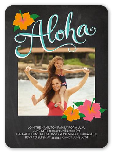 Chalkboard Aloha Summer Invitation, Rounded Corners