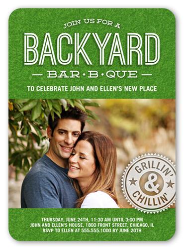 Backyard BBQ Summer Invitation, Rounded Corners