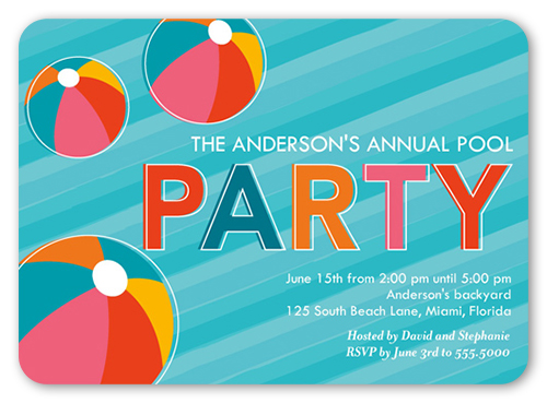 Bright Beach Balls Summer Invitation