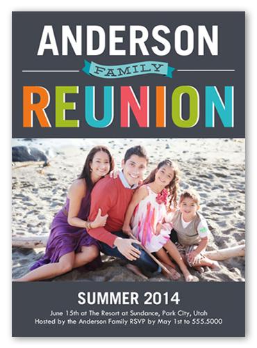 Colorful Reunion Summer Invitation, Square Corners