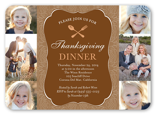 Thanksgiving Table Fall Invitation, Square