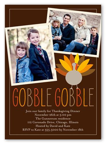 Turkey Day Fall Invitation, Square Corners