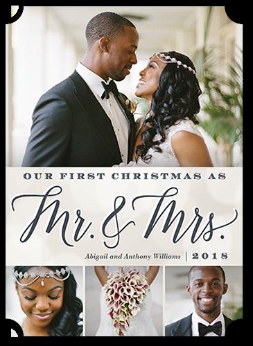 Elegant Couple Christmas Card, Ticket Corners