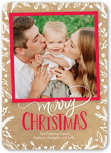 Merry Bordered Foliage Christmas Card