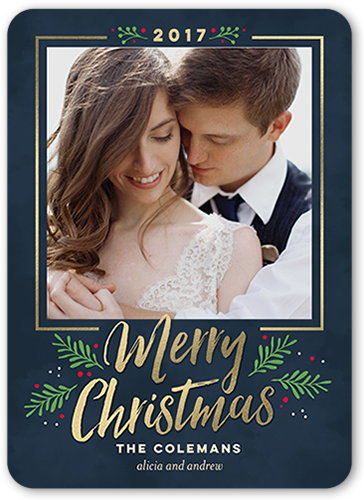 Sweet Merry Frame Christmas Card, Rounded Corners