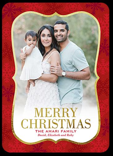 Bracket Framed Flurries Christmas Card, Rounded Corners