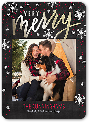 Very Merry Falling Flurries Christmas Card, Rounded Corners