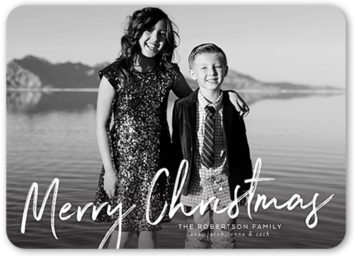 Handwritten Merry Christmas Card, Rounded Corners