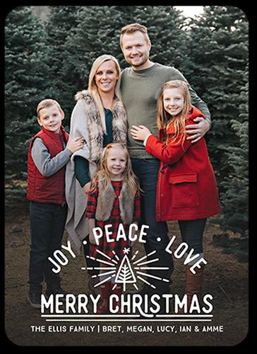 Joyous Tree Burst Christmas Card, Rounded Corners