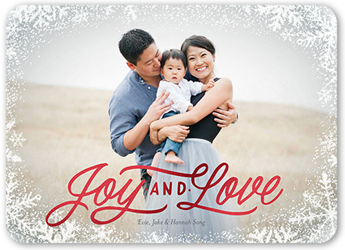 Joyous Frosted Frame Christmas Card, Rounded Corners