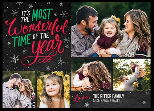 Wonderful Flurries Christmas Card, Square Corners