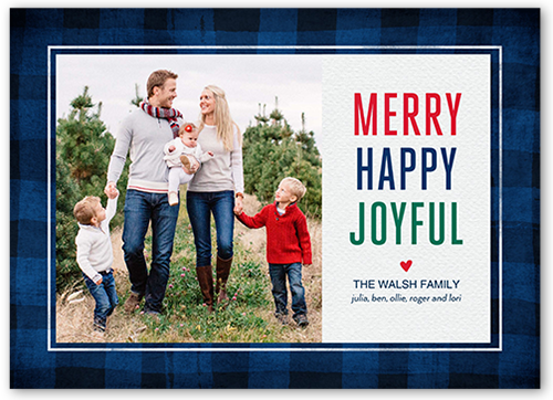 Joyful Plaid Border Christmas Card, Square Corners