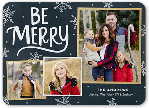 Bold Be Merry Christmas Card, Rounded Corners