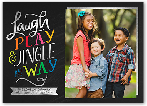 Laugh And Play Christmas Card, Square Corners