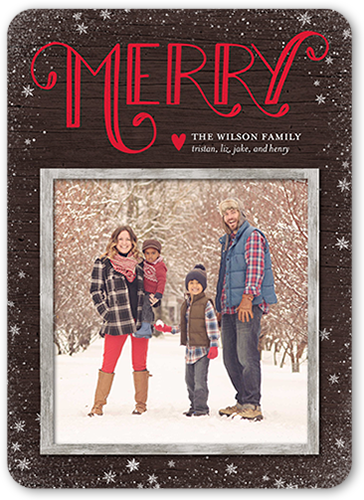 Swirled Merry Flurries Christmas Card