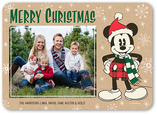 Disney Mickey Mouse Joy Christmas Card, Rounded Corners