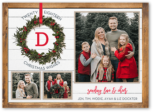 5de0b8745c Rustic Monogram Wreath Christmas Card