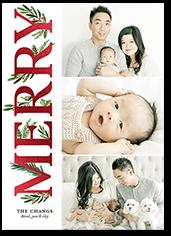 shining botanical merry christmas card
